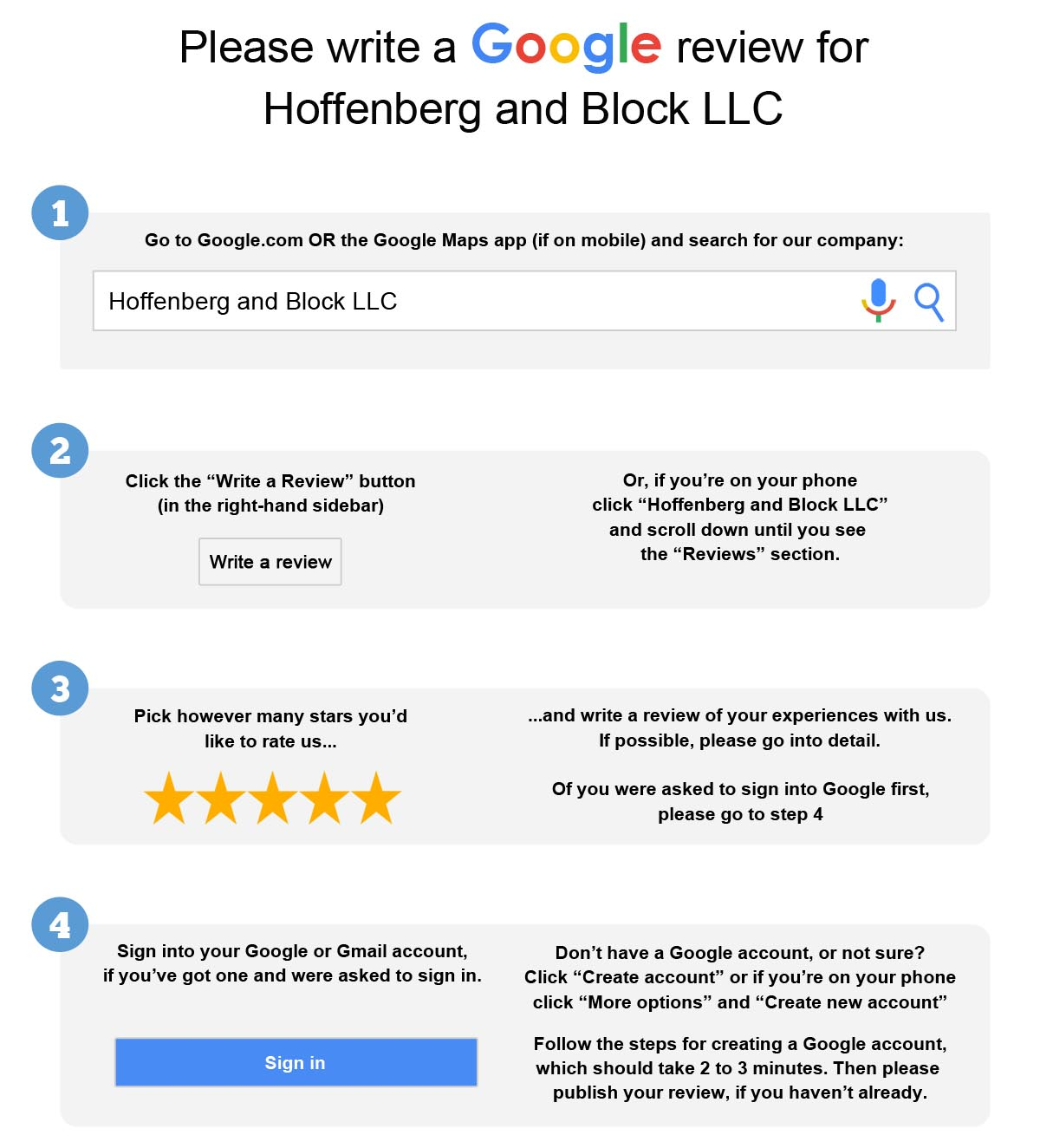 write google reviews Learn how to create a link directly to the google my business review box pre-filled with 5 stars & encourage your clients people want to write google reviews.